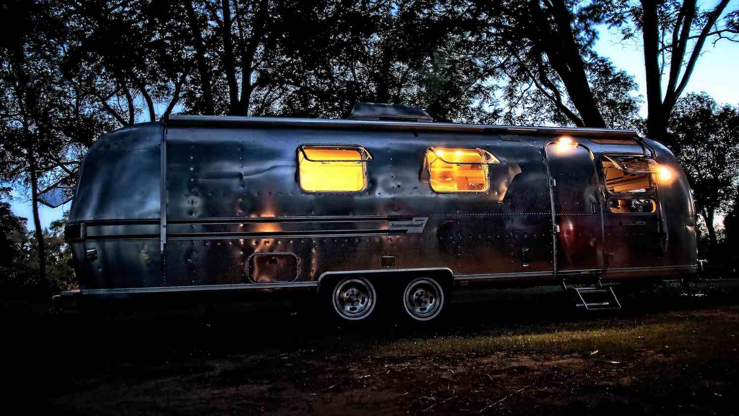 A beautiful glow from our Airstream Travel Trailer.