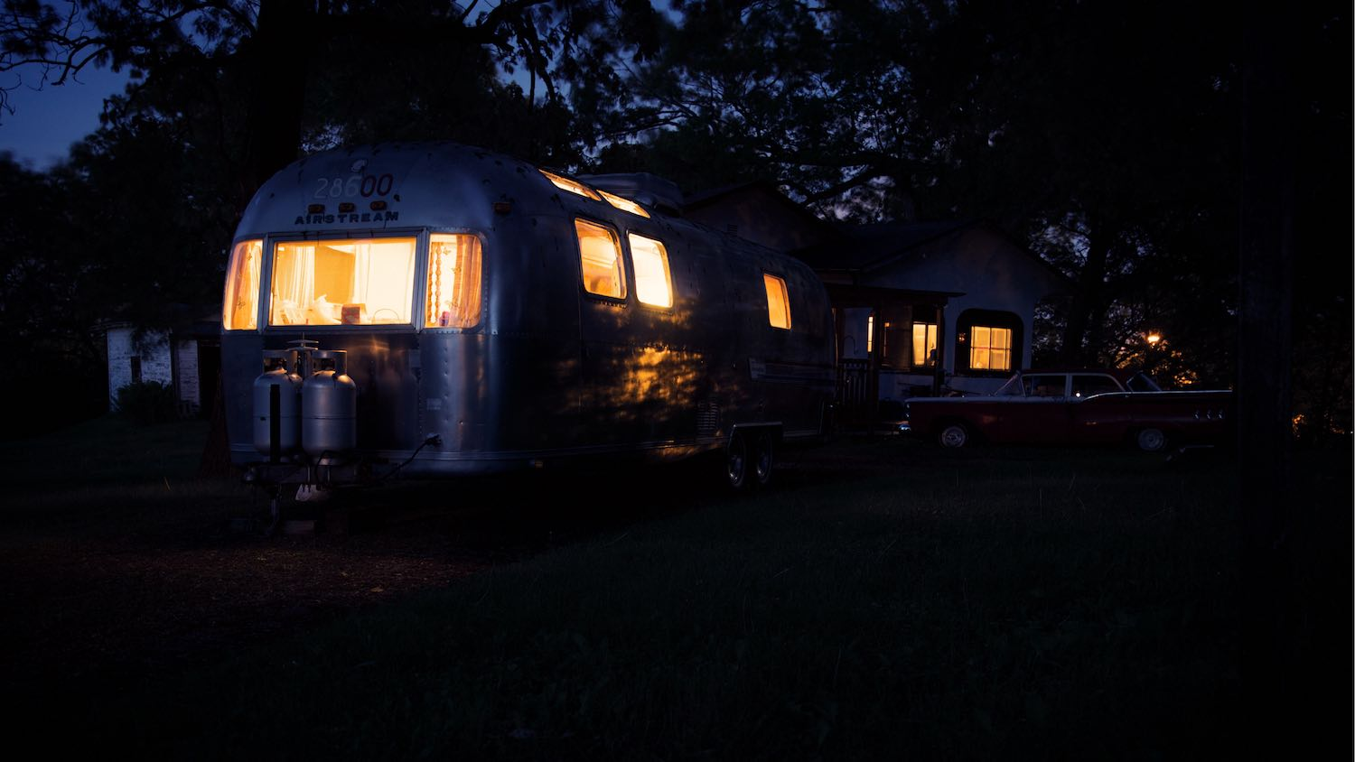 Our Airstream at night has a beautiful glow.