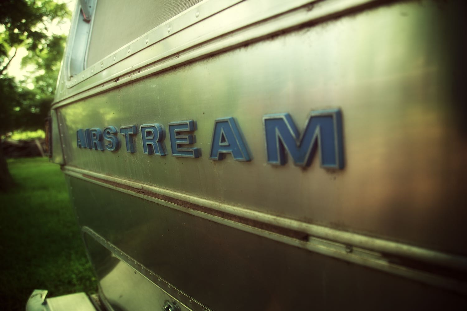 A rear view of our Airstream lettering emblem.