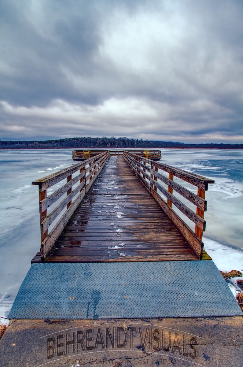 HDR Image processed in Affinity Photo of the pier at Mauthe Lake, in Wisconsin's Kettle Moraine State Forest.