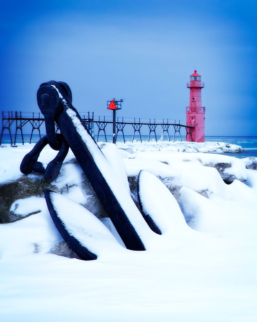 The Algoma Light Looks Out Over Lake Michigan
